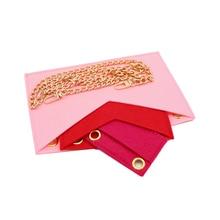 Felt organizer handbag Kirigami insert of 3 with Golden chain Crossbody bag Kirigami Pochette Envelo