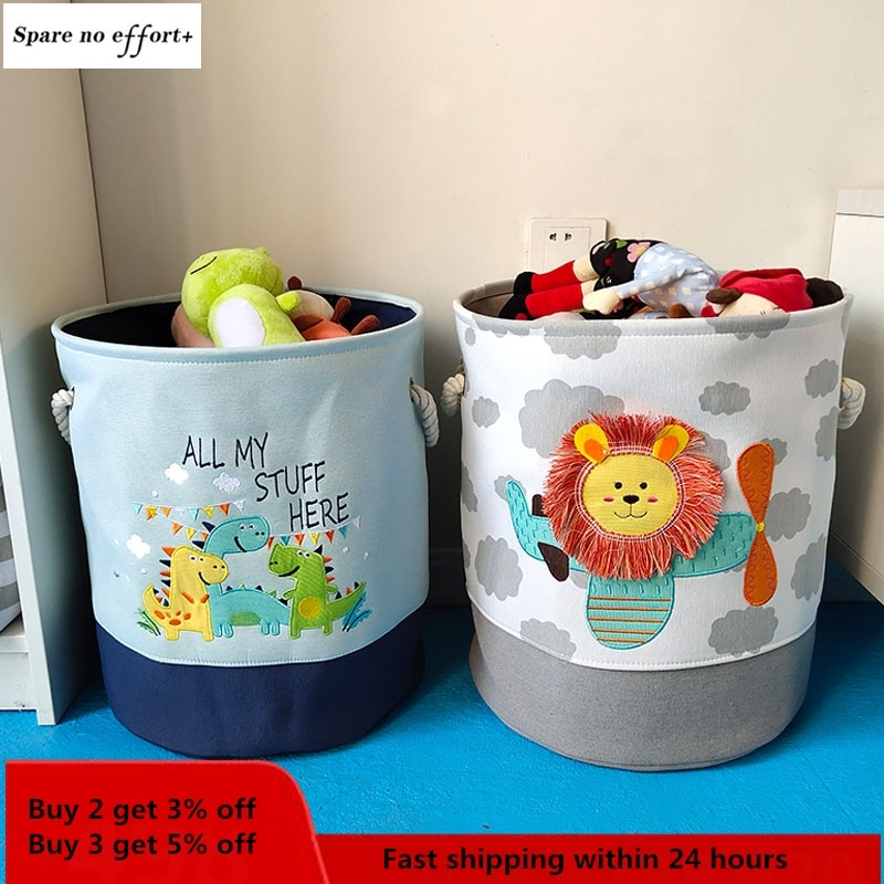 Baby Laundry Basket Cute Dinosaur Foldable Toy Storage Bucket Picnic Dirty Clothes Basket Box Canvas