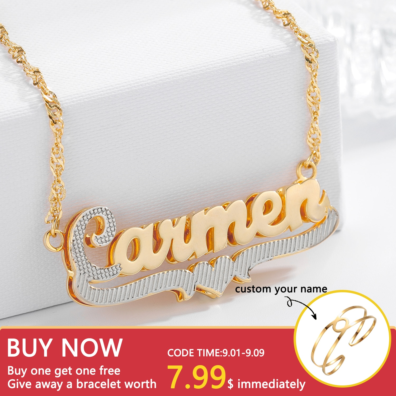 Custom Name Necklace 3D Double Double Layer Two Tone Nameplate Personalized 18K Gold-Plate Name Necklace For Women Jewelry Gifts