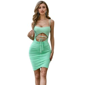 2020 Autumn New Fashion Blue Sleeveless Strap Bandage Dress Knee Long Sexy Party Dress Tight Dress Wholesale