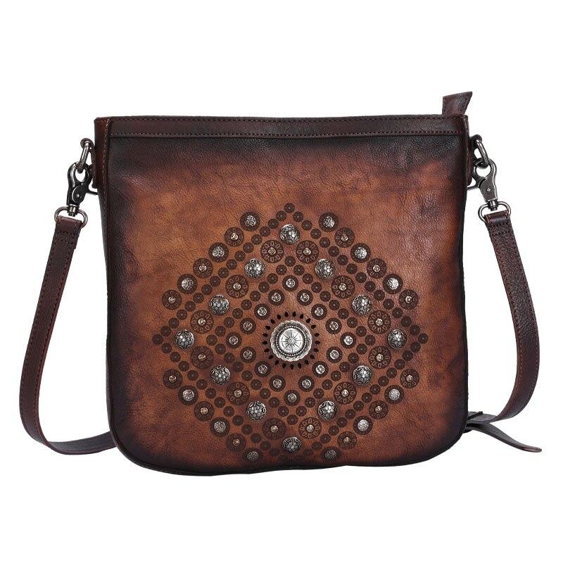 FCTOSSR 2019 original bolso de hombro de cuero literario nicho retro remache cuero mensajero bolsa hecha a mano de cuero suave bolso de mano Mujer