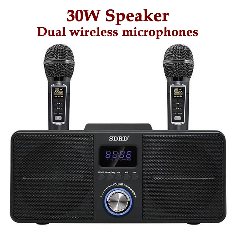 Promo Karaoke Bluetooth Speaker with Two Mic Wireless Portable Column Home Theater Music Center System 4DStereo Subwoofer caixa de som