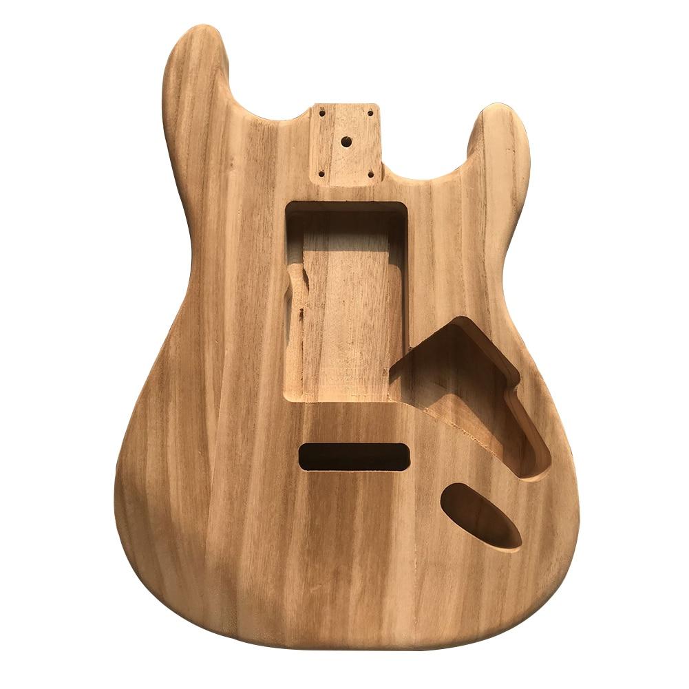 Artesanía madera de arce guitarra cuerpo inacabado DIY instrumento agujeros duraderos Bass piezas accesorio pulido hecho a mano