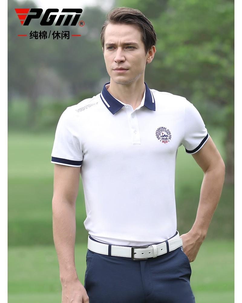 Ropa de golf de verano para hombre, PGM, camiseta de Golf con cuello de solapa y LOGO bordado transpirable de manga corta, ropa deportiva de secado rápido