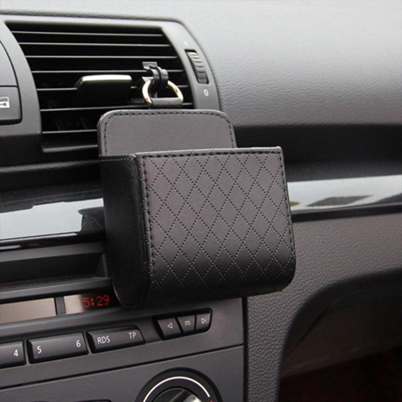 Bolsa de almacenamiento para salida de aire de coche, caja organizadora portátil para teléfono con gancho de cuero, accesorios interiores de coche, contenedor de bolsillo
