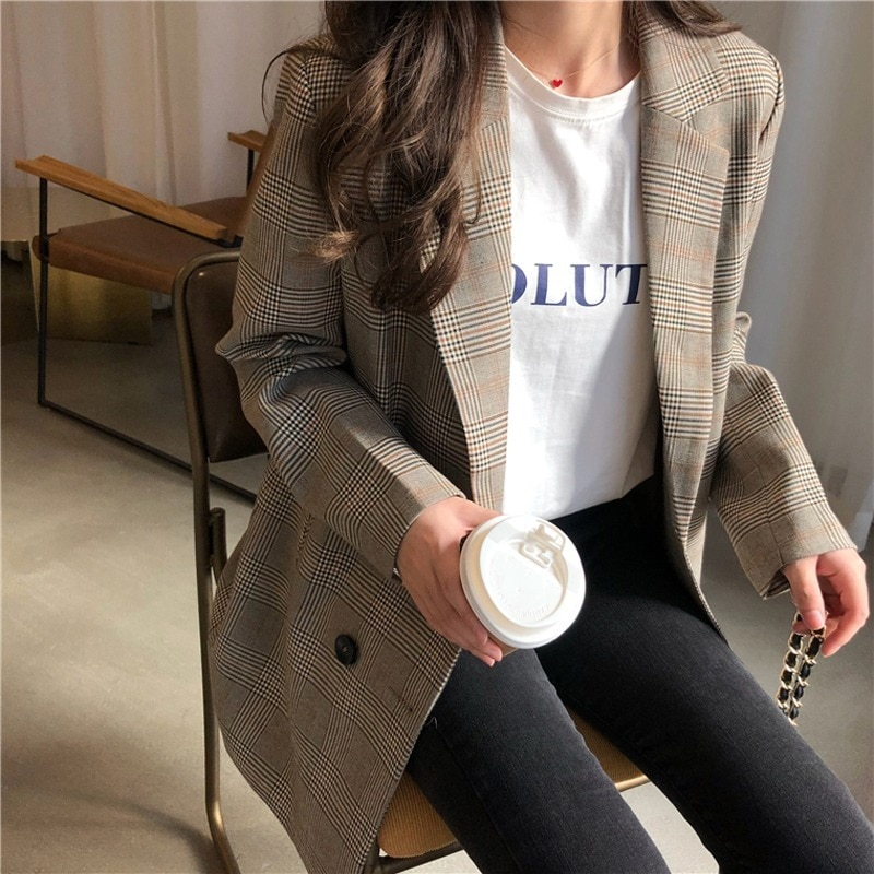 Office Ladies Notched Collar Plaid Women Blazer Double Breasted Autumn Jacket 2020 Casual Pockets Female Suits Coat office ladies notched collar plaid women blazer double breasted autumn jacket 2021 casual pockets female suits coat