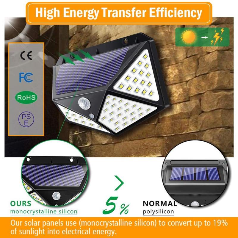 Luz LED de pared para exteriores 100, lámpara impermeable con Sensor de movimiento y luz de cuatro lados con protección de carga y descarga