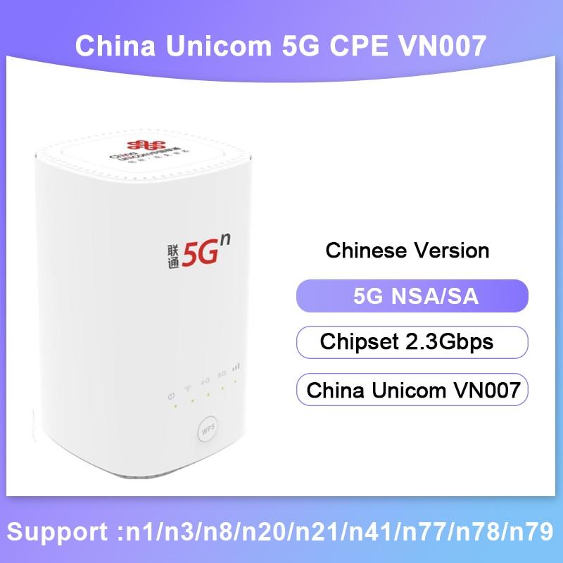 NEW Unlocked China Unicom VN007 5G CPE Wireless Router NSA SA 2.3Gbps Sim Slot Router Mesh wifi 5g CPE Modem Wireless High-power