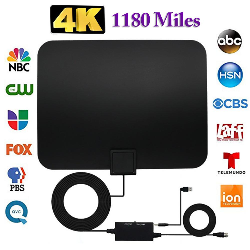 Professional Carbon Fibre 1180 Miles TV Antenna Indoor TV Digital HD Antenna 4K HD Freeview Life Local Channels