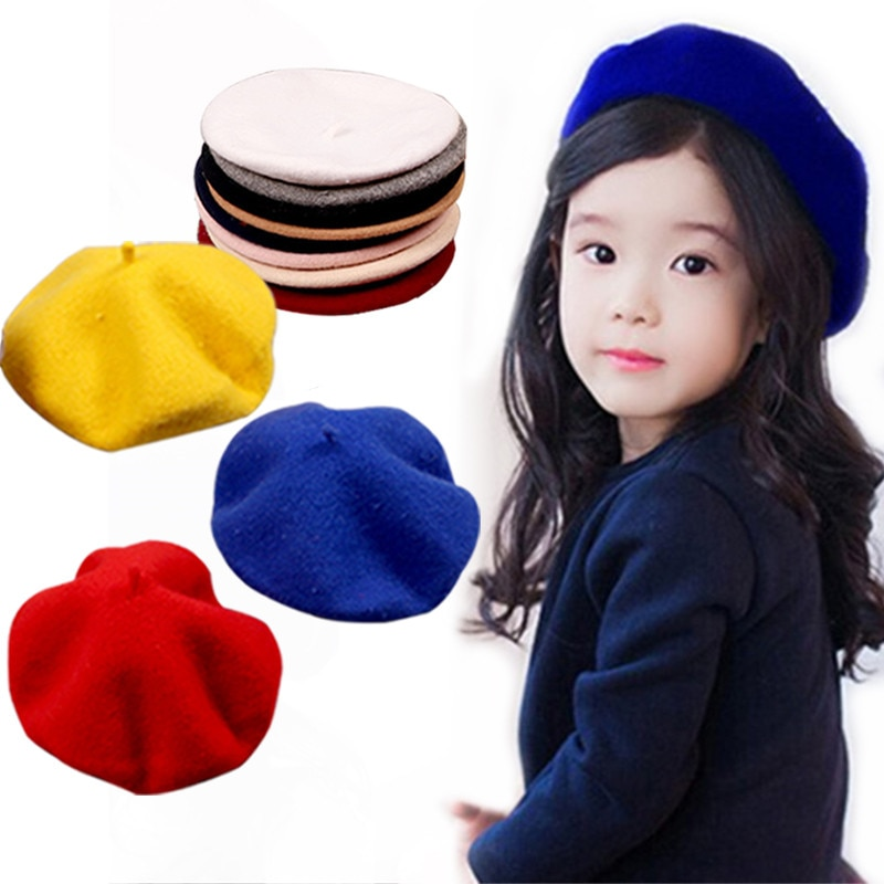 Cute Wool Baby Hat for Girls Vintage Autumn Winter Baby Beanies Cap Kids Adjustable Toddler Beret Painter Hat Hair Accessories