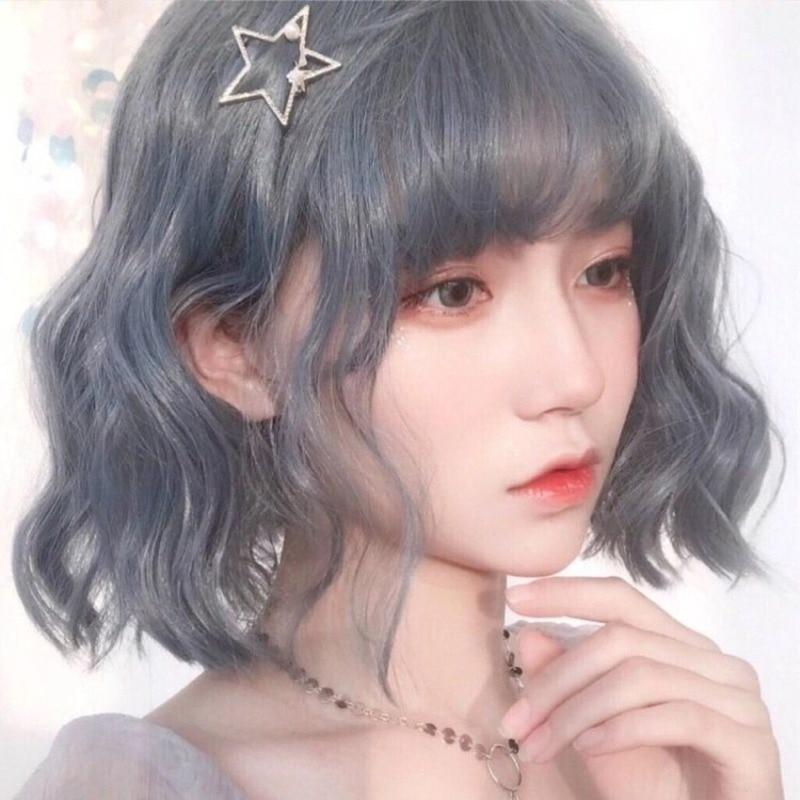 Cosplay Peluca de niña de pelo largo de maíz caliente rollo de lana Natural esponjoso en línea celebridad fideos instantáneos Pelo Corto rizado azul