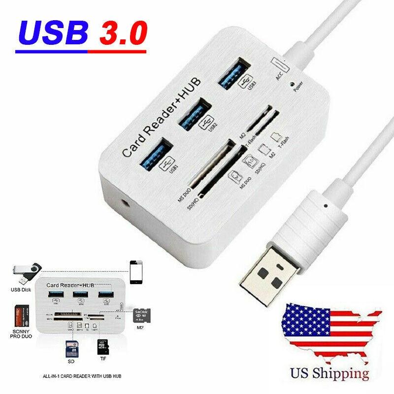 UGI Stock 3 Port USB 3,0 Hub MS SD M2 TF Multi-en-1...