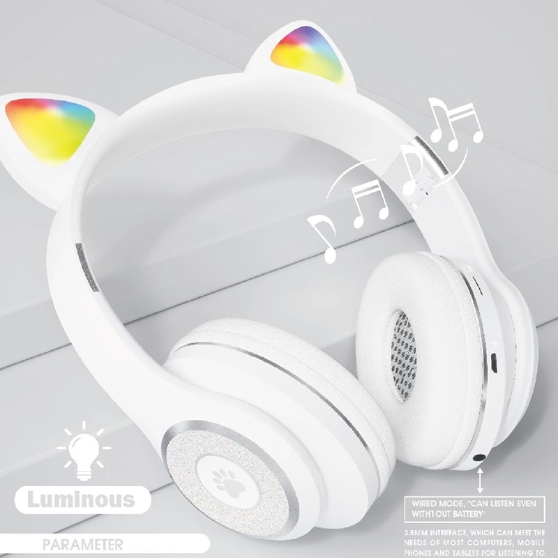 Cute Cat Ear Bluetooth 5.0 Headphones Wireless Headset Vedio Game For Laptop PC Bluetooth Device Foldable On-Ear Stereo