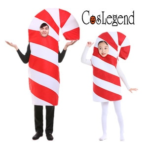 Adult and Child Christmas Candy Cane Cosplay Costume Halloween Christmas and New Year Family Party Costume