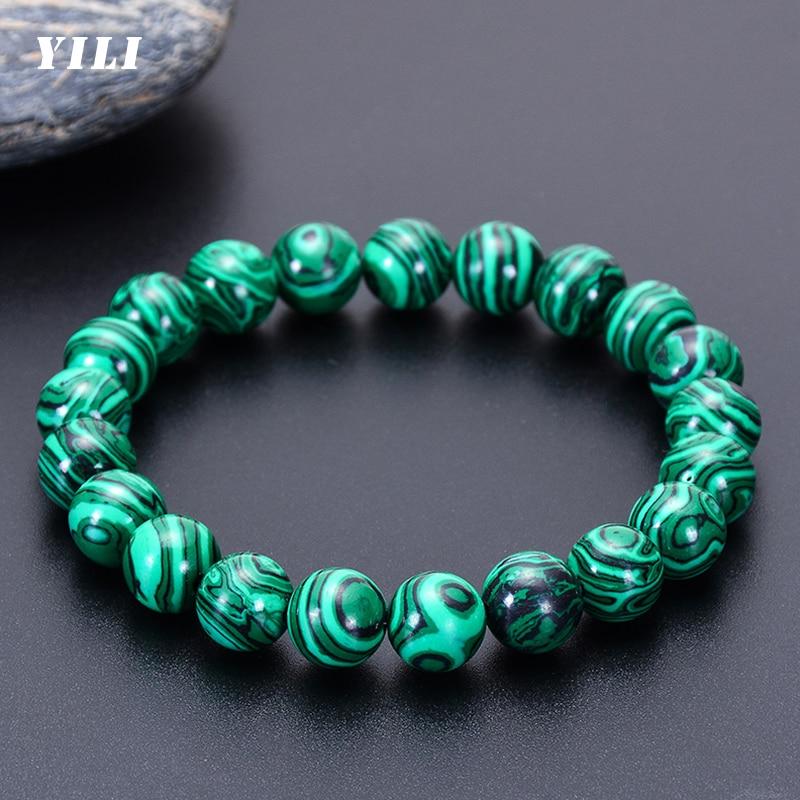 6-12mm Higth Quality Malachite Bracelet for Men Women Natural Stone Bead Buddhist Bracelet Charm Yog