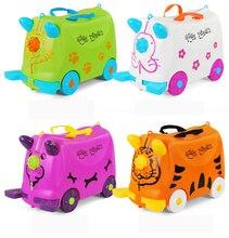 Moda seyahat bagaj arabası bavul İşlevli arabası bavul bavul Ride bebek kontrol kutusu çocuk