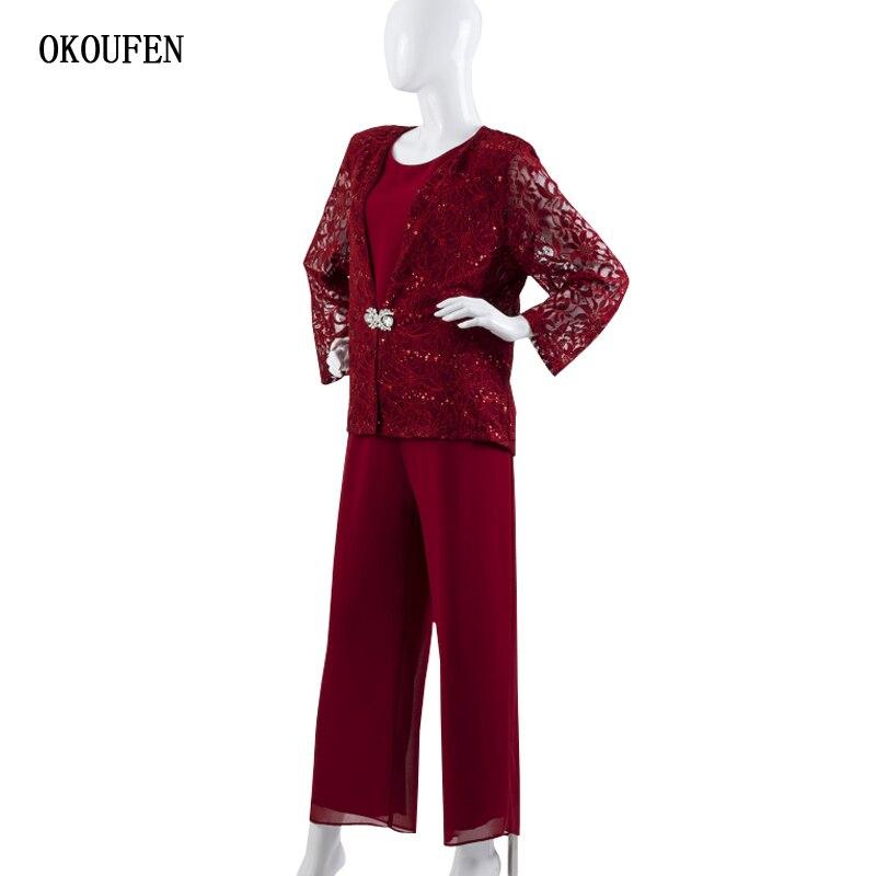 Personalizar Pantsuits chaqueta De encaje Mujer elegante Pantsuit farcami Vestido De madinha Borgoña Madre De la novia vestidos 3 piezas
