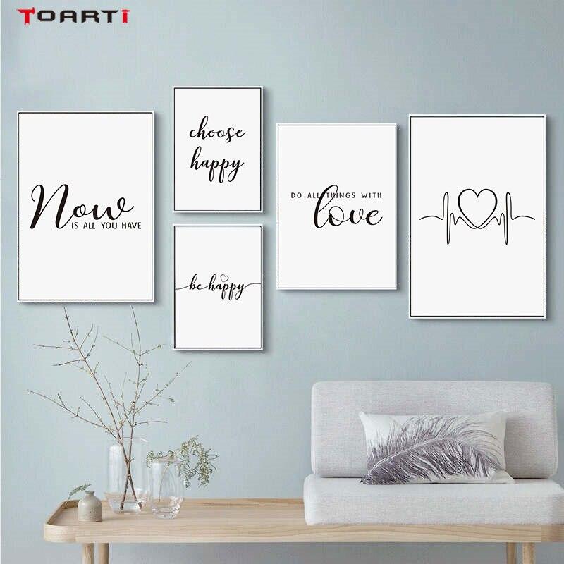 Inspiradora cita imprime carteles ser letras Happy lienzo pintura moderna de pared para sala de estar dormitorio decoración para el hogar