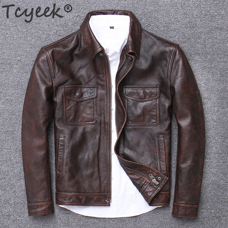 Tcyeek 100% Real Leather Jacket Men Autumn Winter Clothes 2020 Streetwear Fit Genuine Cow Leather Coat Men's Leather Jacket 1790