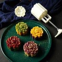 mooncake mold mid autumn festival hand pressure flower moon cake mould 125150g diy decoration mooncake press molds