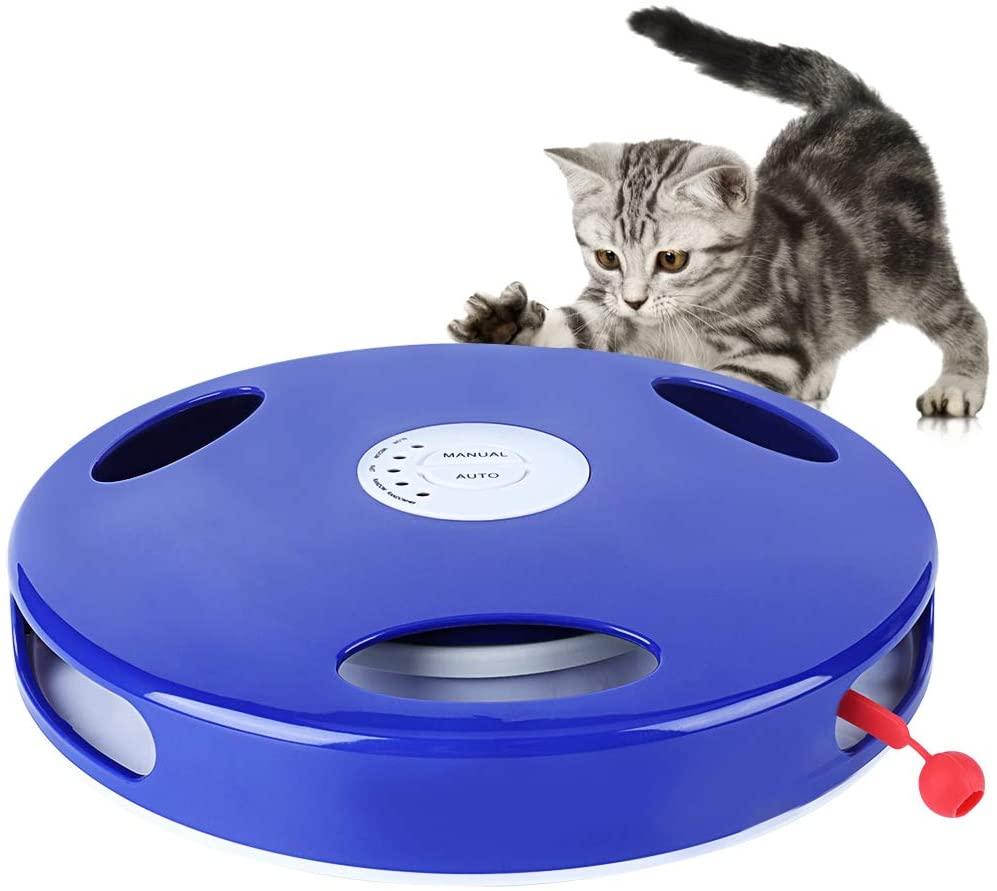 Juguete interactivo para gatos, juguete eléctrico rotatorio para gatos con 5 modos de velocidad y cola giratoria, juguete divertido para mascotas