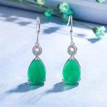 Naturel vert Jade calcédoine goutte deau boucles doreilles 925 argent sculpté charme jadéite bijoux mode amulette pour les femmes cadeaux