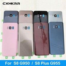 Pour Samsung Galaxy S8 G950 SM-G950F G950FD S8 Plus S8 + G955 SM-G955F G955FD couvercle arrière en verre couvercle de la batterie avec logo