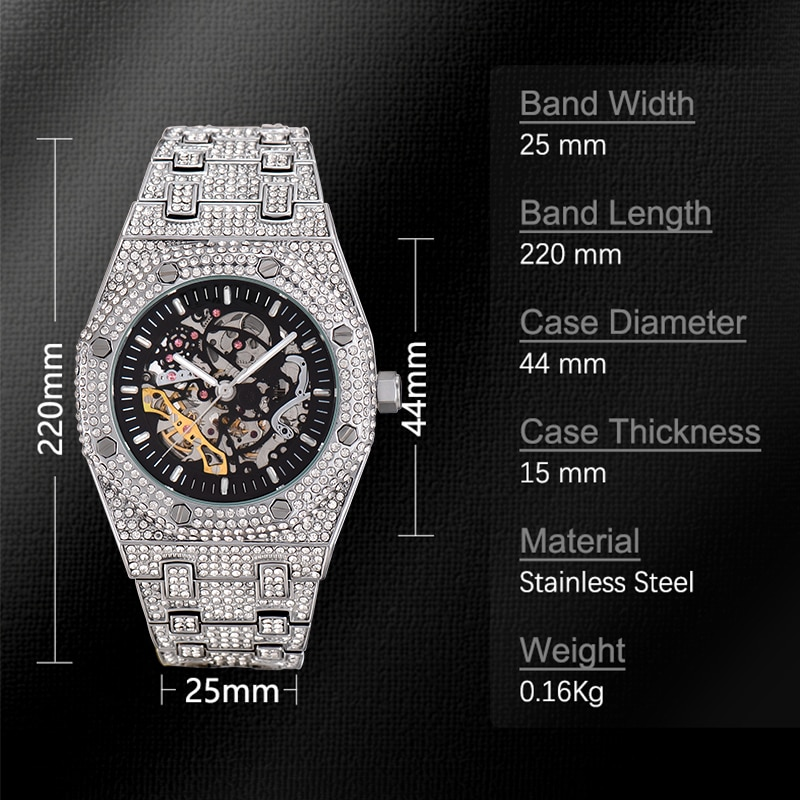 Reloj Automatico de Hombre MISSFOX Gold Luxury Brand Diving Watches Ice Out Wrist On Froze Royal Style Mechanical Watch Drop enlarge