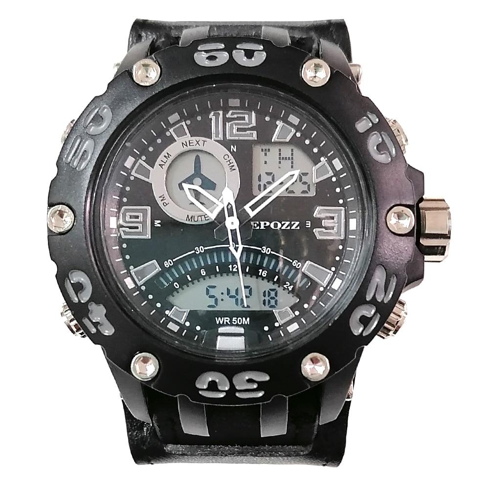 Epozz evitar alergia al metal serie Dual modo deporte reloj Shock resistir horas hombre reloj al aire libre estilo G relogio masculino 2802TY