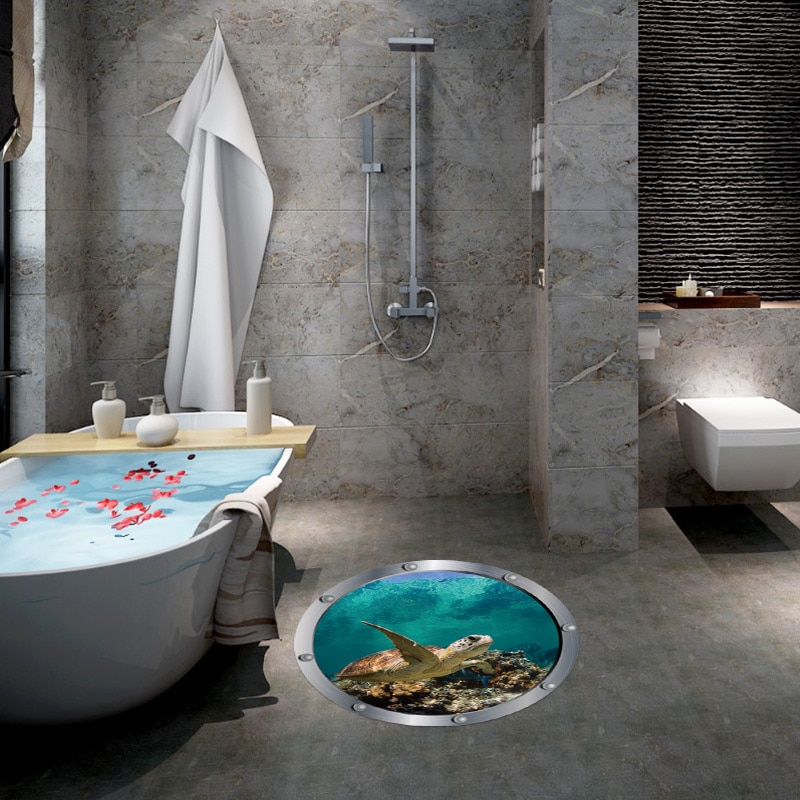 3D Wall Stickers Wallpaper Sea Turtle Ocean World Wall Art Decals Decor Floor Decorative  Sticker  Home Decoration