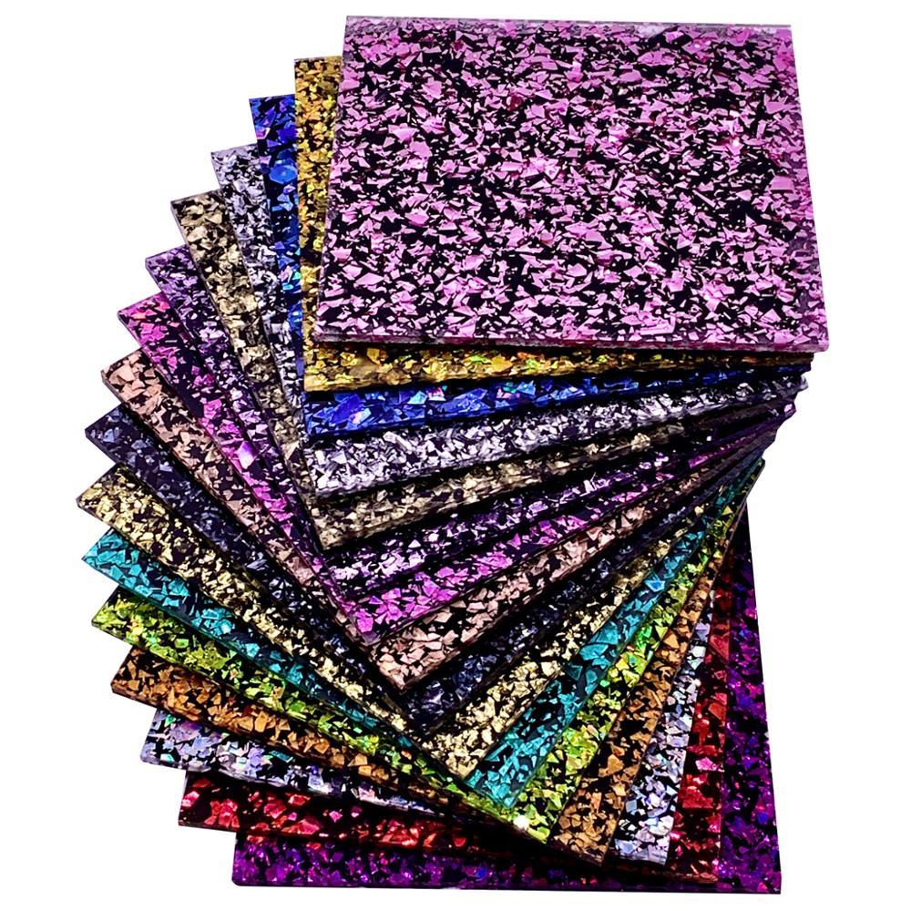 Un juego completo de acrílico (PMMA) de 1 cara, gruesas hojas brillantes de 3,0mm para joyas, artesanías, obras de arte, decoración, 15 colores/juego