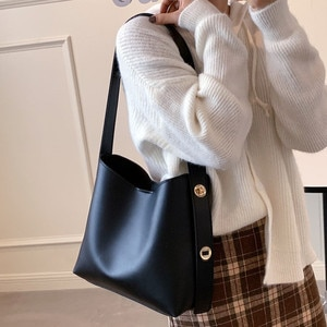 Women Fashion Bucket Bag Women's Simple Style Good Quality PU Leather Shoulder Bag Handbags Female Casual Large Tote Shopper Bag