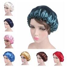 Muslim women night sleep cap satin elastic stretch hat single layer satin hair cap adjust hair loss