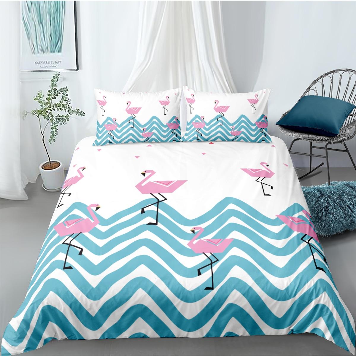3D пододеяльник наборы постельных принадлежностей постельные принадлежности сумка подушка Shams King Queen полный двойной размер животное Фламин...