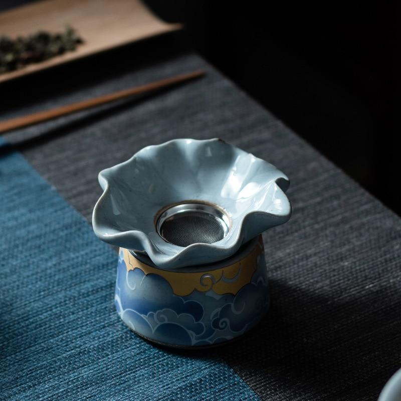 Qingyun Moon-مصفاة شاي سيراميك ، مصفاة شاي الكونغ فو ، شبكة مرشح ، شواية ، حفل الشاي ، بدون مطابقة ، طقم شاي
