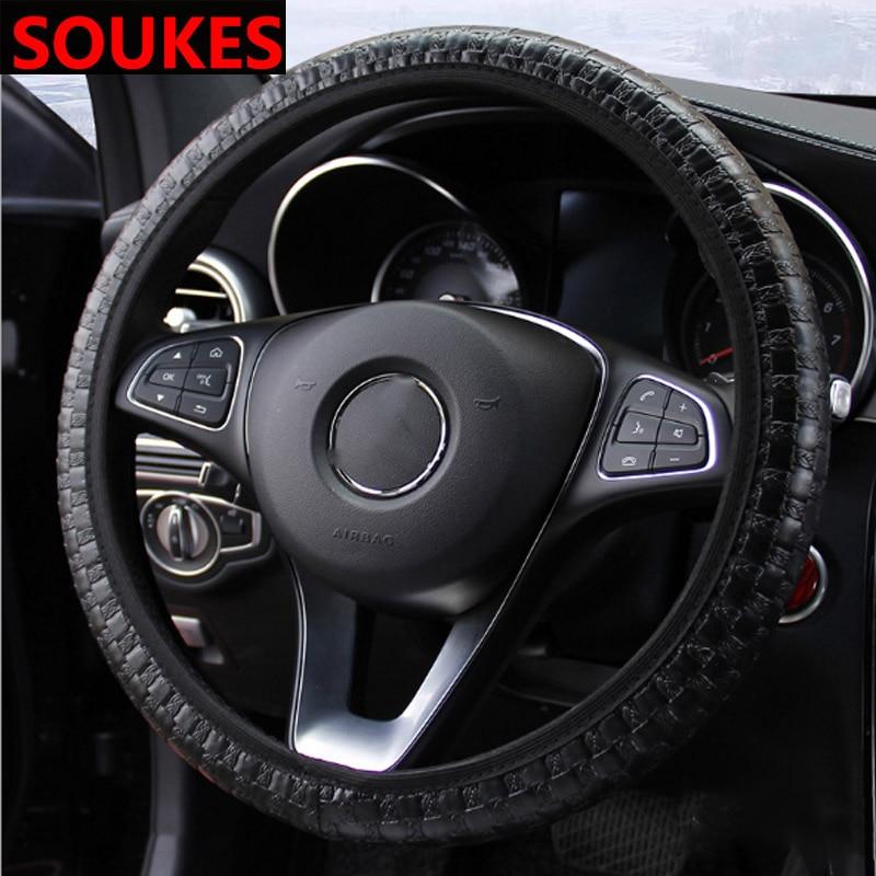 Funda antideslizante de cuero para volante de coche de 38CM para Audi A4 B7 B5 A6 Q5 Honda Civic 2006-2011 Accord CRV Accesorios