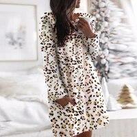 camouflage leopard women dress 2021 autumn and winter o neck dresses women clothes elegant long sleeve casual warm mini dress