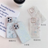 cartoon butterfly flower transparent hard phone case for iphone 12 11 pro max xs x xr 8 plus soft side fallanti protective cover