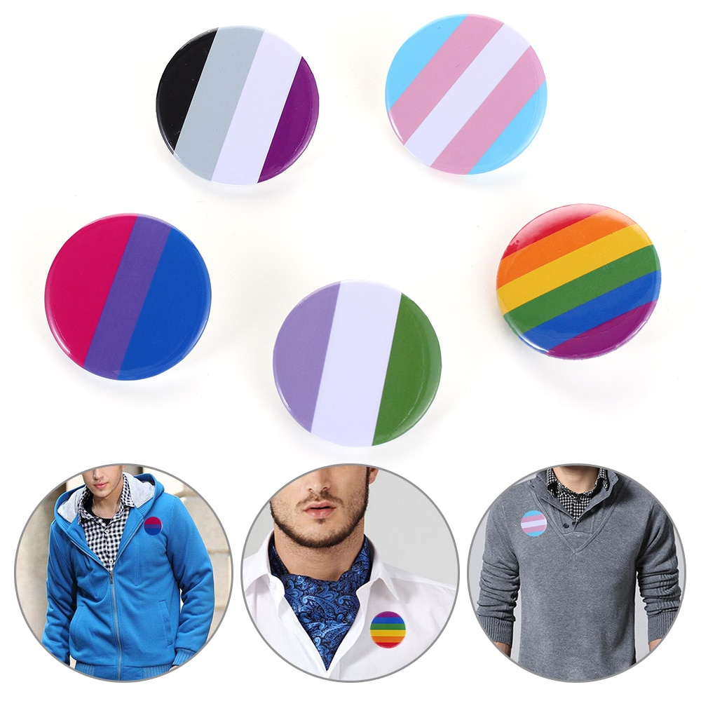 1 Pc Denim Brooches Pride Rainbow Flag Tinplate Badge Support Gay Lesbian Bisexual Transgender Symbol Pin Icons Lapel Brooch