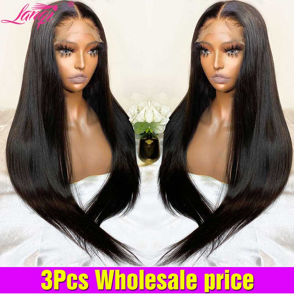 Lanqi 3PCS Wholesale Brazilian Bone Straight Lace Front Wig Pre Plucked Lace Frontal Wig Lace Front Human Hair Wigs For Women