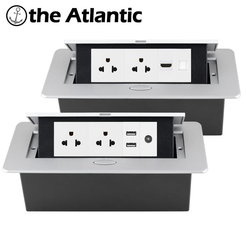 الولايات المتحدة الجدول منفذ سطح المكتب المقبس راحة قطاع الطاقة USB RJ45 TV HDMI سطح المكتب المنبثقة المدمج في المقبس الولايات المتحدة الأمريكية ا...