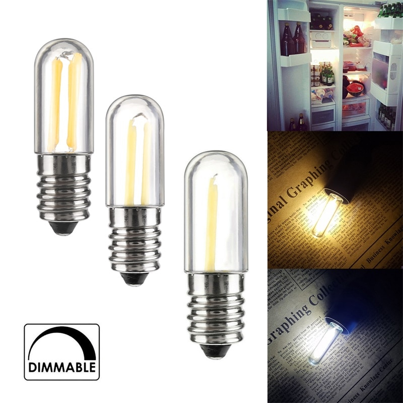 Lâmpadas led com filamento cob ajustável, mini lâmpadas e12 e14 1w 2w 4w para geladeira, congelador, máquina de costura, iluminação doméstica