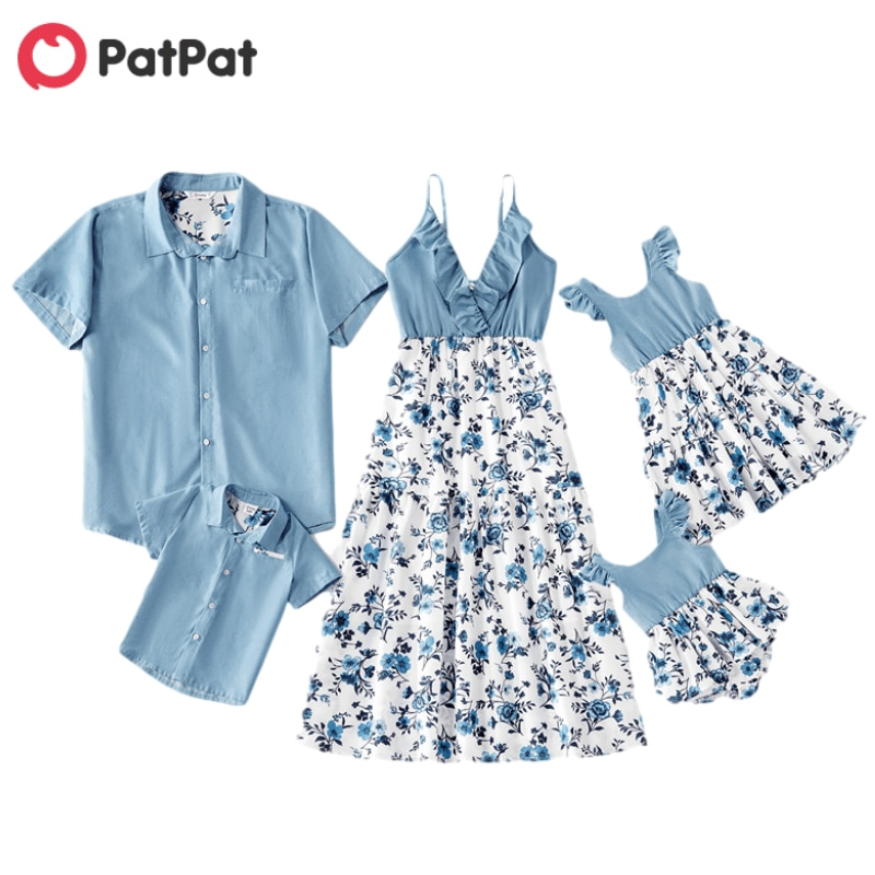 PatPat 2021 Hot Sale Summer and Spring Mosaic Cotton Family Matching Floral Sets Flounce Tank Dresse