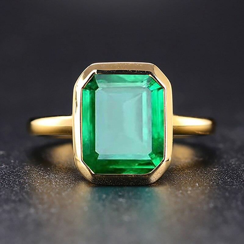Prata real 925 retro quadrado anel de pedra verde 18k cor ouro aaa + zircão cúbico esmeralda anéis para presente festa aniversário feminino
