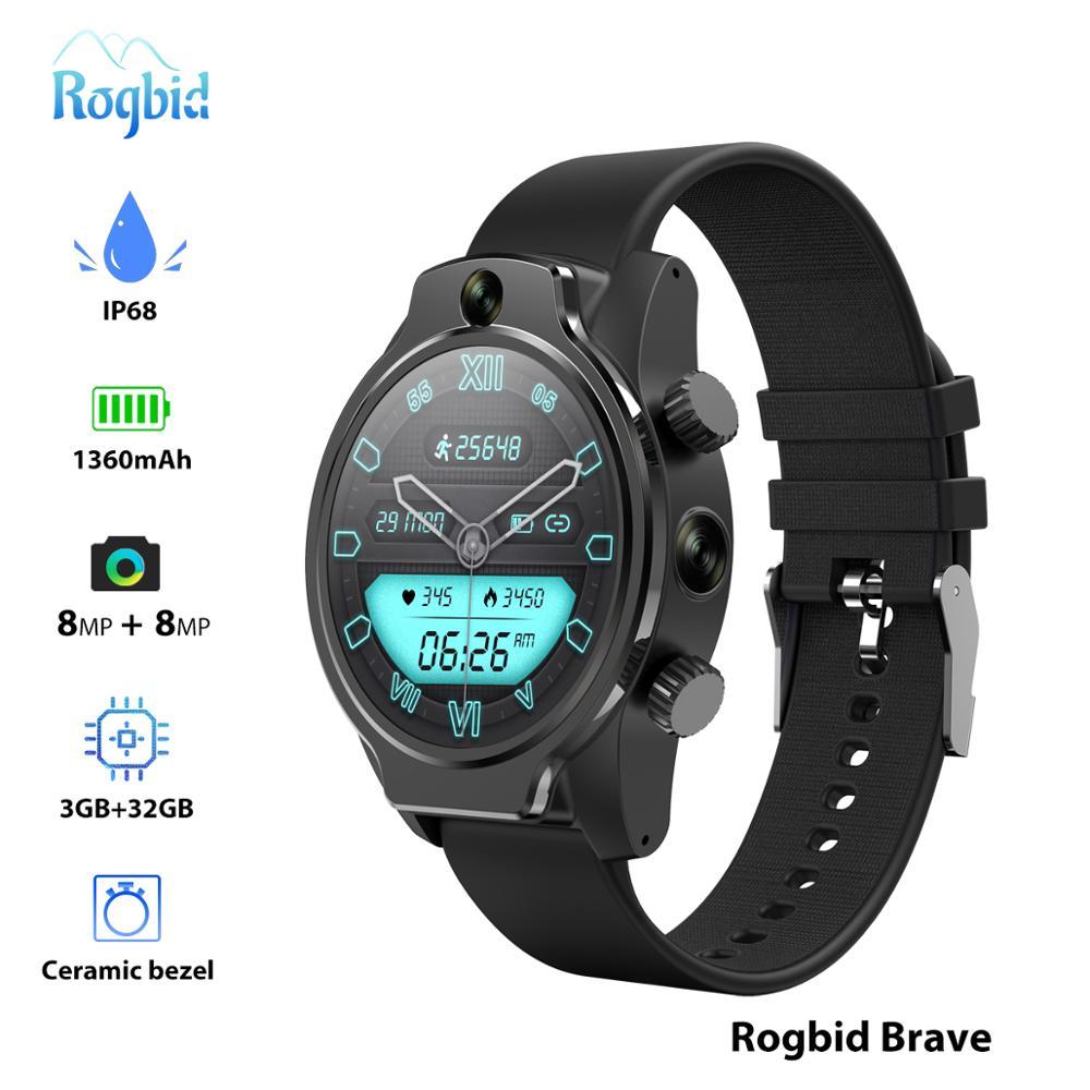 """Reloj inteligente Rogbid Brave IP68 4G para hombre con batería de 1360mAh, identificación facial con cámara Dual, reloj inteligente Android de 1,6 """"4G, GPS, WiFI, sim para buceo"""