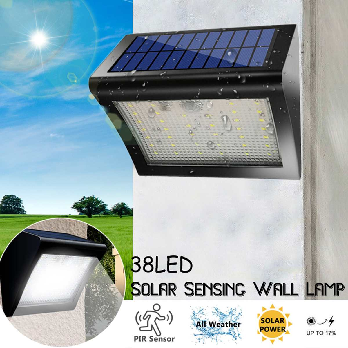 Smuxi 1-6 piezas 38LED luz Solar PIR Sensor de movimiento solar jardín luz impermeable IP65 pared lámpara solar led la lámpara de calle de seguridad