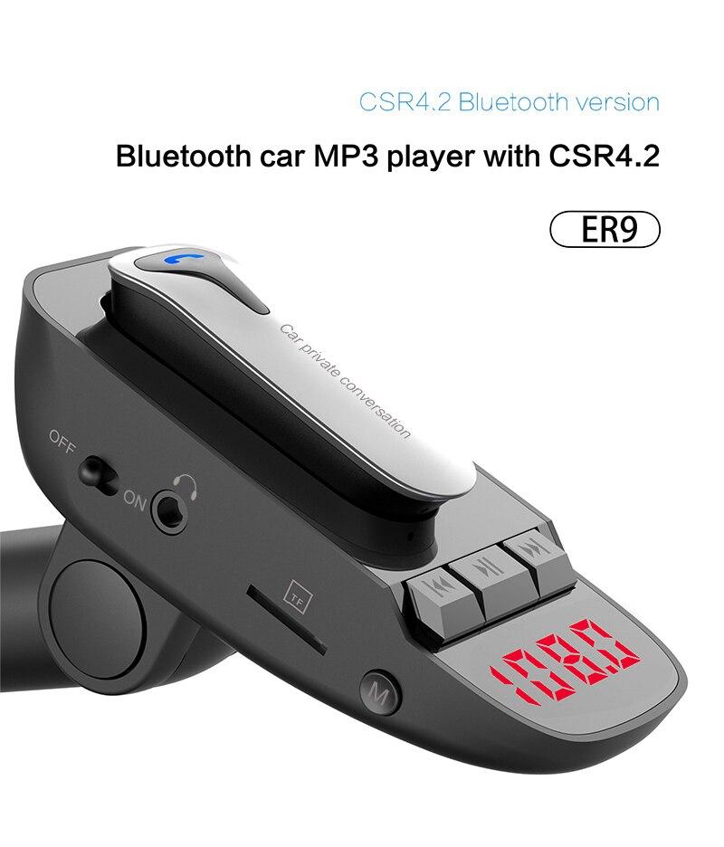 Nuevo transmisor FM inalámbrico Bluetooth reproductor de MP3 adaptador de Radio Kit de manos libres para coche cargador USB con micrófono