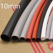 Manchon de câble souple et coloré   Tube thermorétractable en Silicone, diamètre 10mm, protecteur de ligne denveloppe de fil isolé élastique haute température