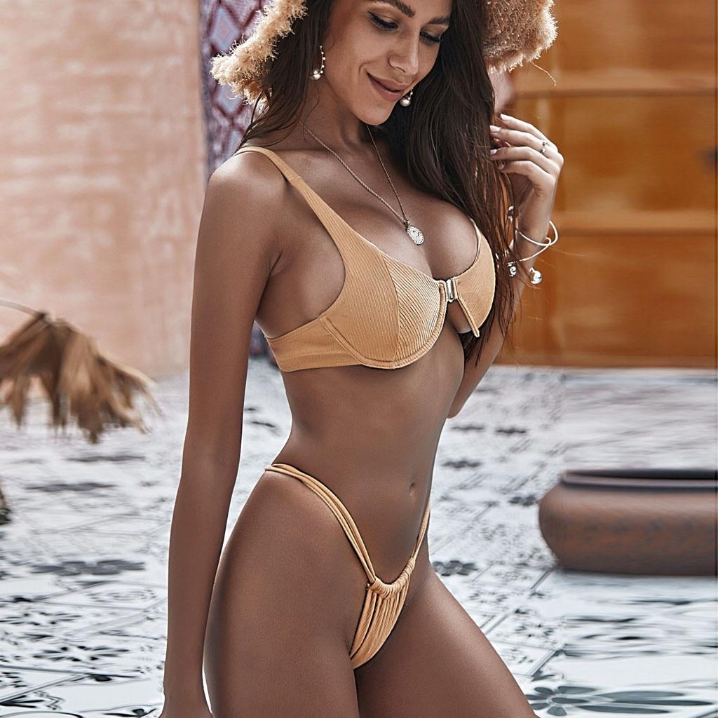 Conjunto de Bikinis con aros para mujer verano Push Up baño Tankini playa Retro desnudo traje de baño 2020 mujer Sexy Bikini acolchado