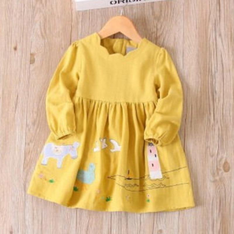 Meninas vestido de outono manga longa princesa vestido moda crianças roupas bordadas dos desenhos animados crianças
